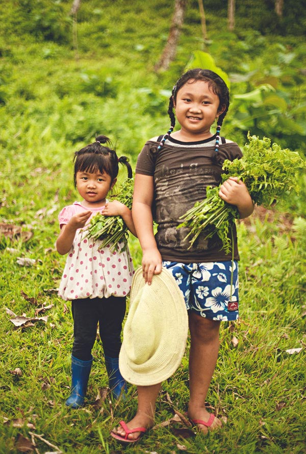 Balinese kids collecting fern tips for our salads.