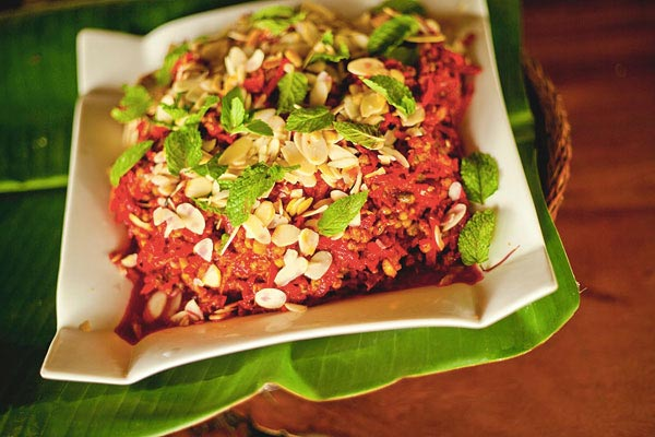 Mung beans with grated beet root, ginger, mint, and shaved almonds