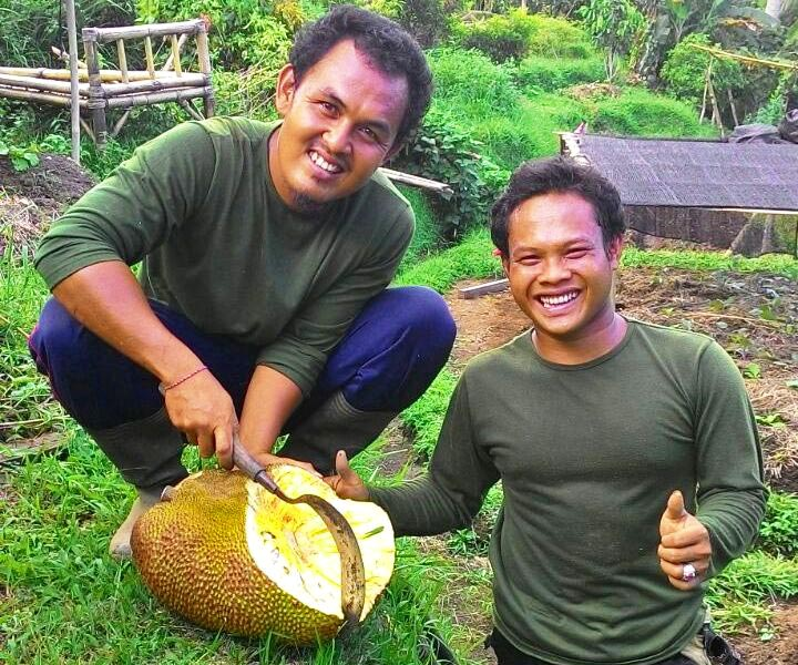 Garden crew with jackfruit