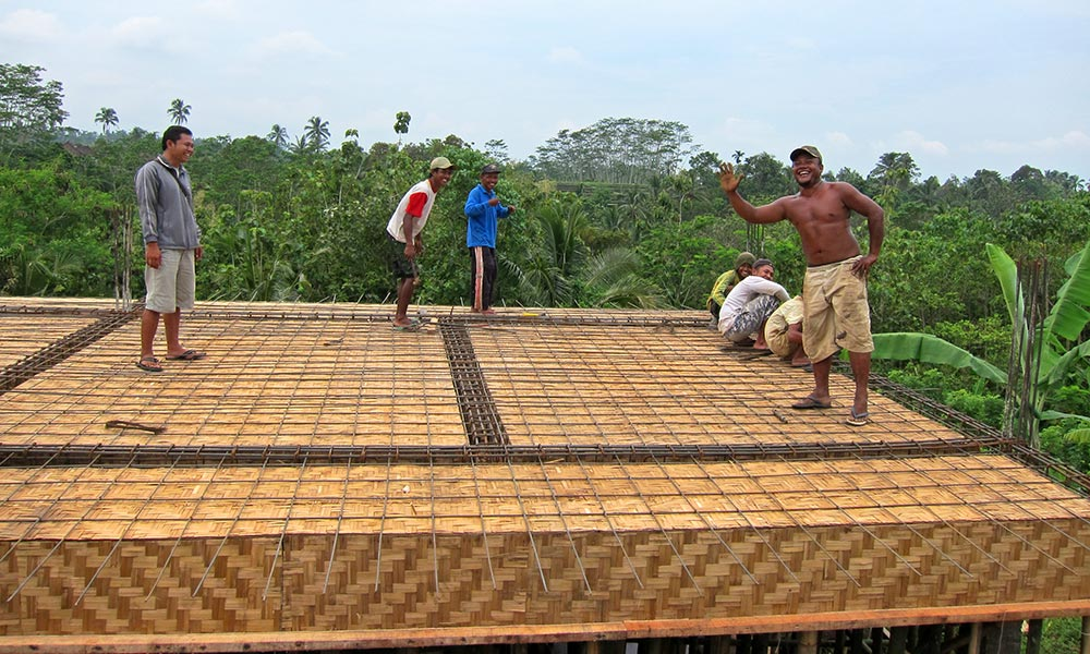 """Single Sleeping Room Lodge – getting ready to pour concrete on the textured """"bedeg""""."""