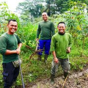 Bali Silent Retreat Garden crew - Gung, Kayune, Koyo