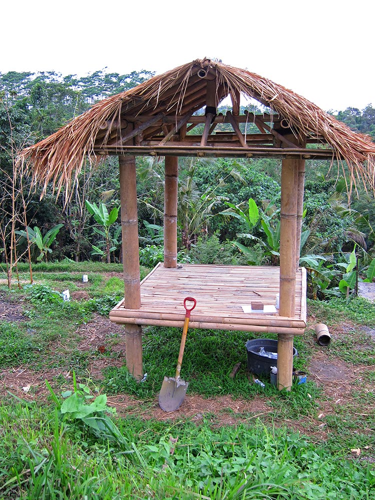 Building a bamboo hut for the garden crew built with materials from the land. Check out the video below.