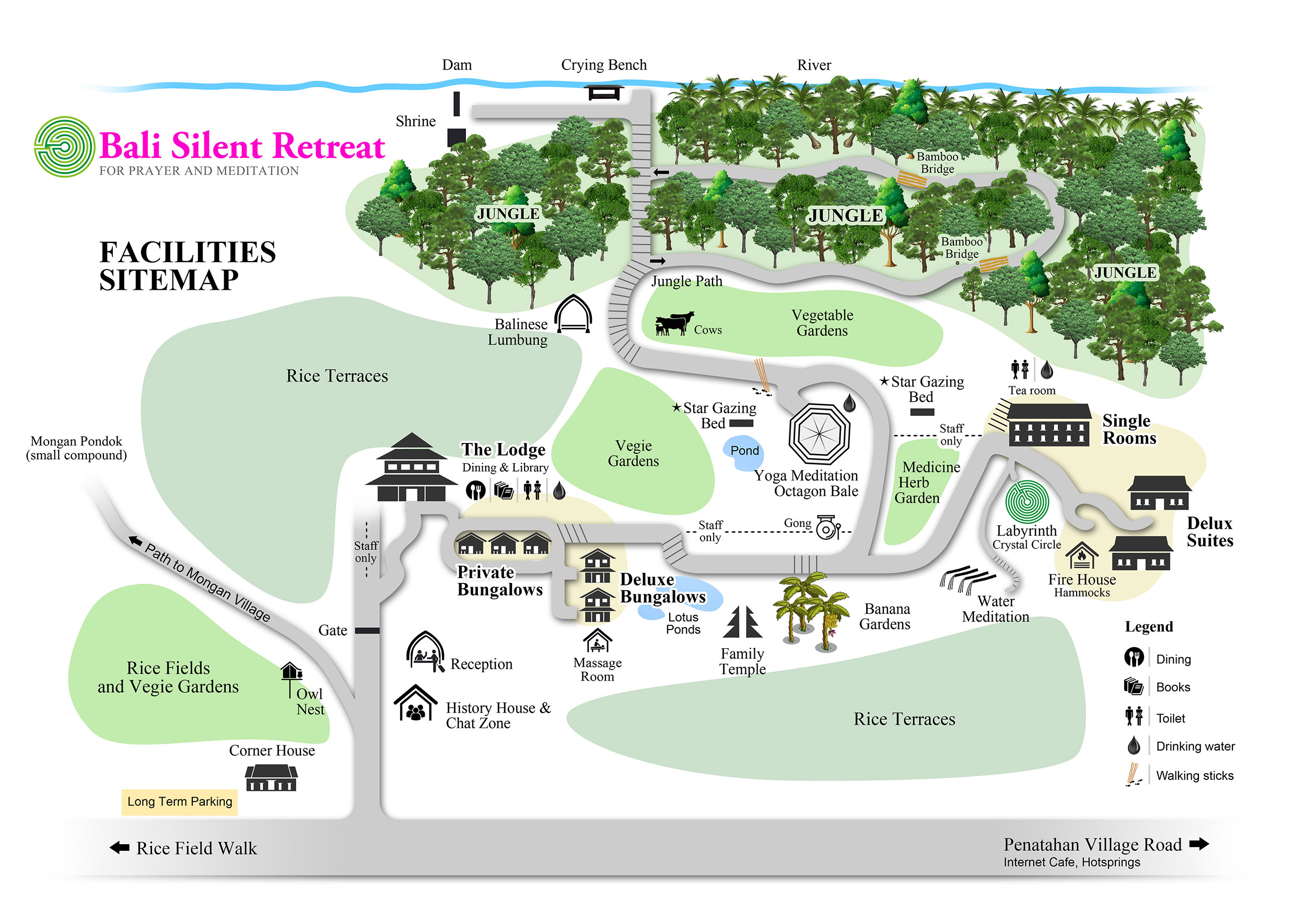 Facilities Sitemap - Bali Silent Retreat